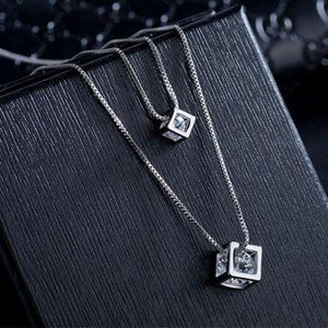 Jewelry - NEW 925 Sterling Silver Diamond Cube Necklace